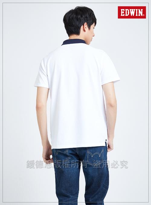 EDWIN 東京系列圓型LOGO短袖POLO衫-男-白色