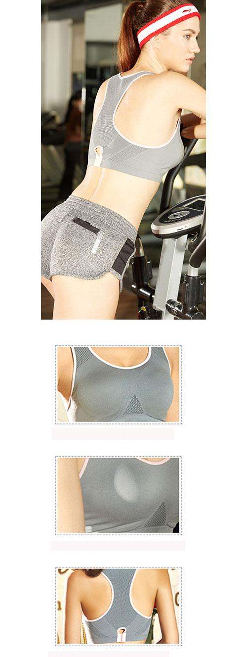 運動內衣 雙排後扣撞色邊透氣網孔內衣 (灰色)-AQUA Peach