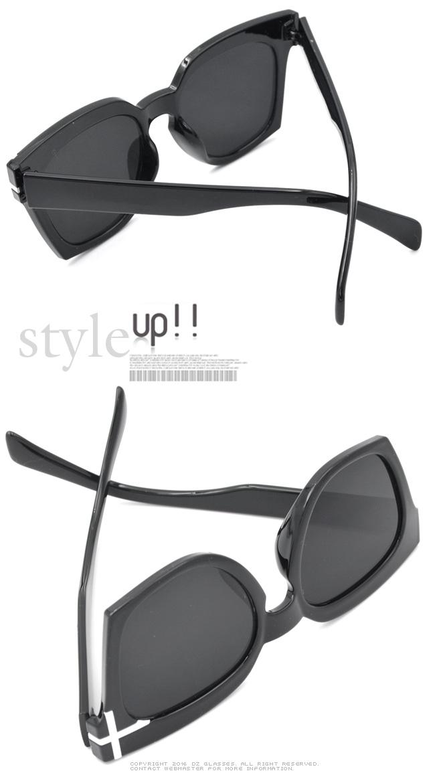DZ 單側白十字飾 抗UV防曬太陽眼鏡墨鏡(亮黑系)