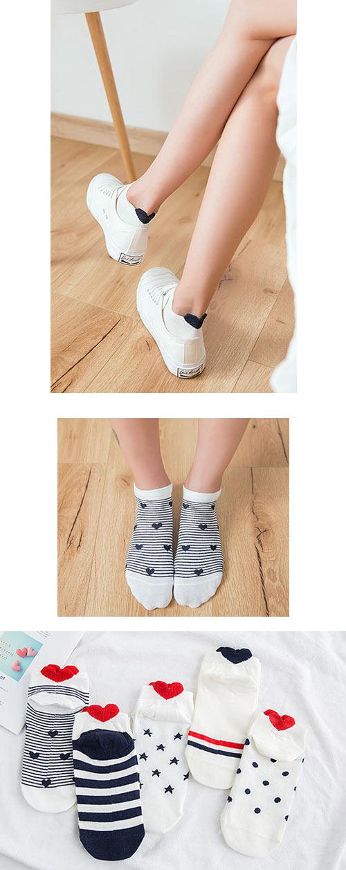 Wazi-後跟立體小愛心圖紋小短襪 (1組五入)