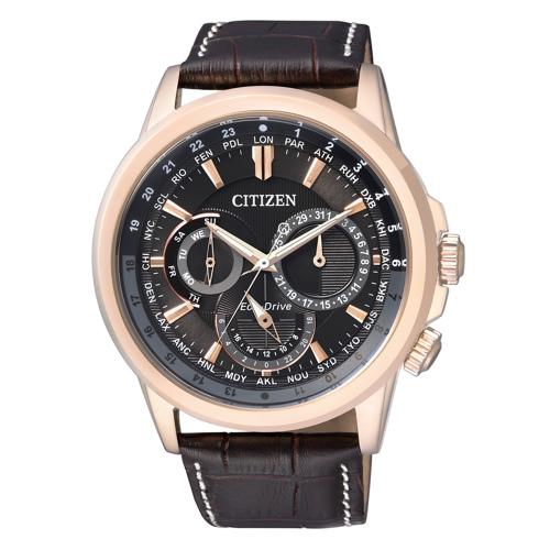 CITIZEN 時尚設計風光動能三眼計時錶-黑面X皮帶/BU2023-12E