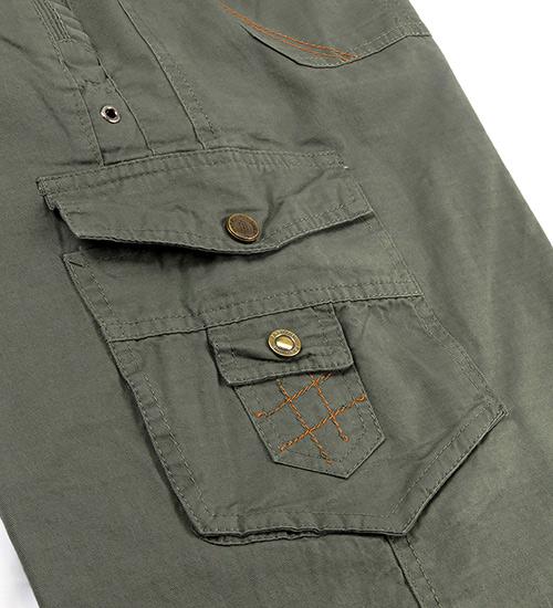 ZENO 鬆緊多袋美式七分短褲‧灰綠色