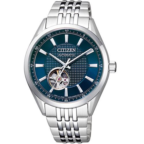 (無卡分期6期)CITIZEN 星辰紳士時尚開芯機械腕錶(NH9110-81L)-藍