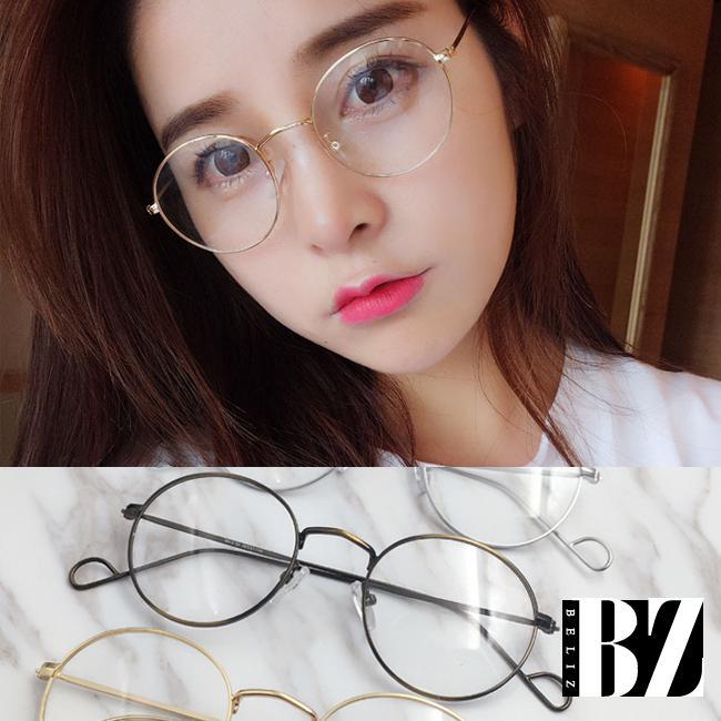BeLiz 纏綿巴洛克 圓框細金屬平光眼鏡 漸層古銅