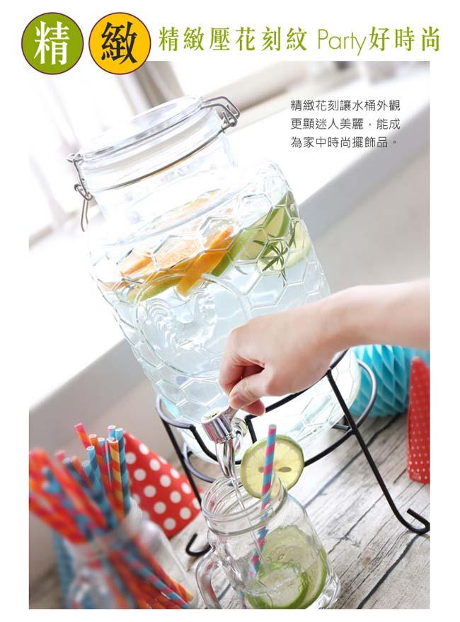 Party Plus玻璃派對飲料桶8.0L(附水龍頭&架子)