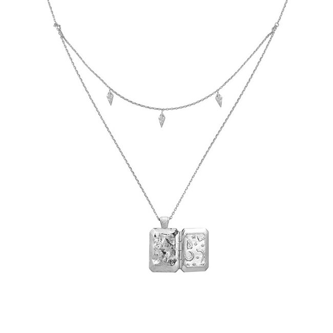 Wanderlust+Co 澳洲品牌 古典銀河星系藏寶盒項鍊 銀色雙層項鍊 ZALEA