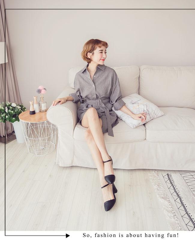 Ann'S Lovely-搖曳水鑽顯瘦側V繫踝尖頭粗跟鞋-黑(版型偏大)
