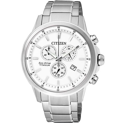 CITIZEN 星辰 時尚光動能鈦計時腕錶/白/AT2340-81A