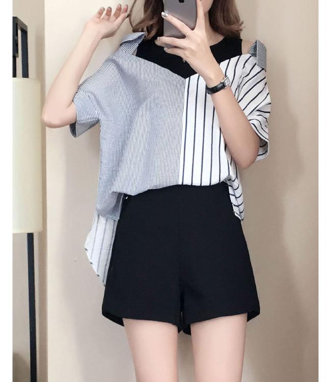 中大尺碼假兩件黑色拼接露肩粗細拼色棉麻襯衫XL~4L-Ballet Dolly
