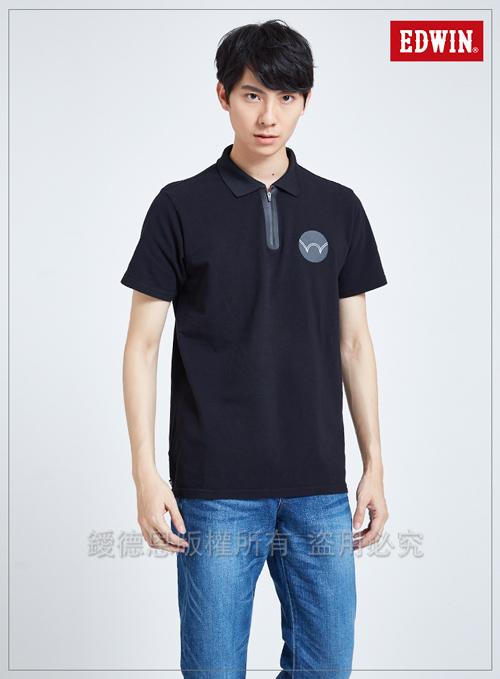 EDWIN 東京系列圓型LOGO短袖POLO衫-男-黑色