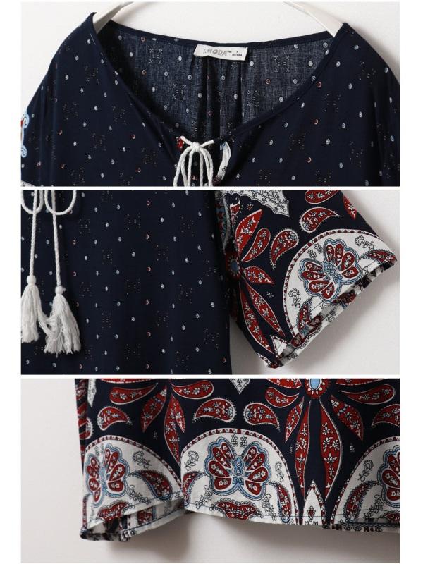 民族風印花流蘇綁帶寬鬆長版上衣-OB大尺碼
