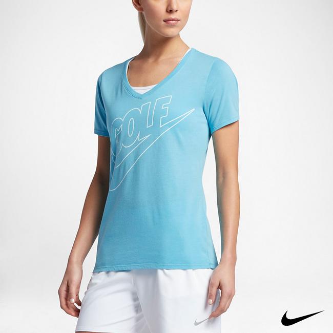 NIKE DRY FADE 女運動高爾夫上衣 藍 872117-432