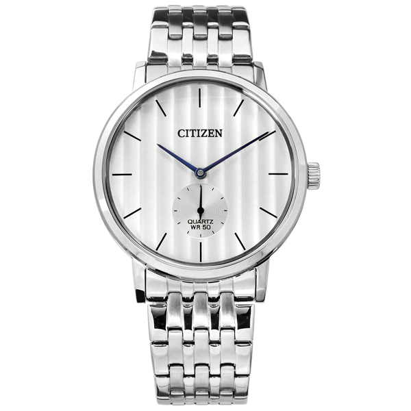 CITIZEN 星辰表 日本機芯礦石強化玻璃不鏽鋼手錶-銀白色/39mm