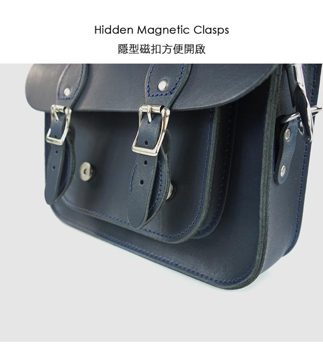 The Leather Satchel 英國手工牛皮劍橋包 肩背手提包 霧墨深藍 11吋