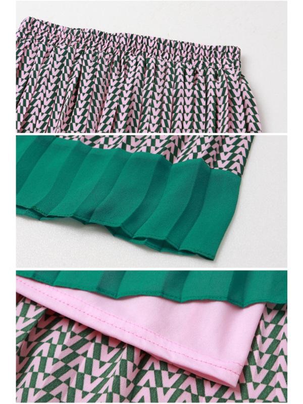 幾何圖紋配色拼接雪紡百褶中長裙-OB大尺碼