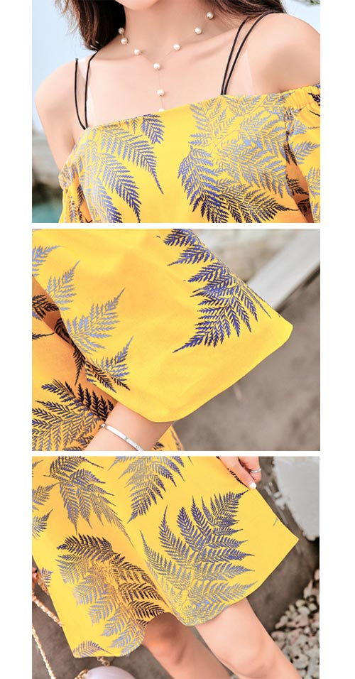 一字領露肩棕梠葉印花細肩帶洋裝 (共二色)-ROANN