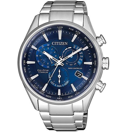 (無卡分期12期)CITIZEN星辰時尚電波對時鈦金屬廣告款腕錶(CB5020-87L)-藍色