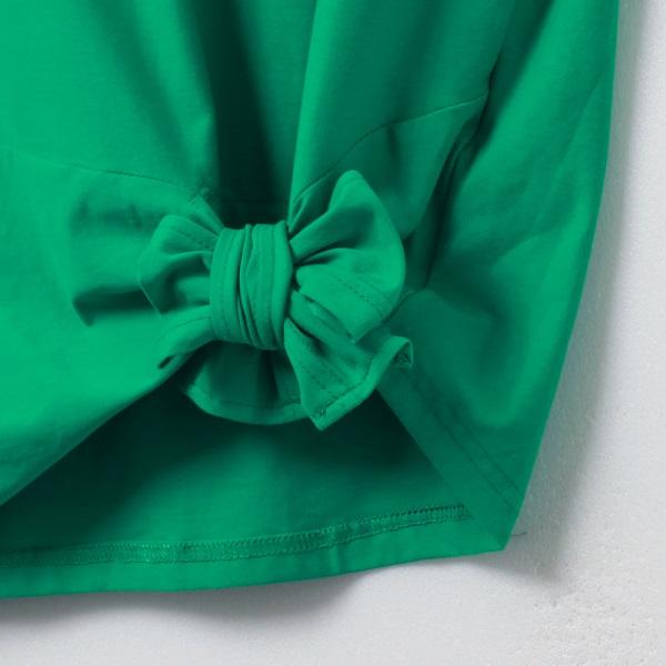純色高含棉綁帶下襬公主袖上衣-OB嚴選