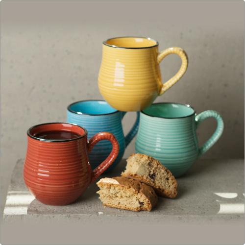 CreativeTops Cafetiere線紋圓肚濃縮咖啡杯4入(150ml)