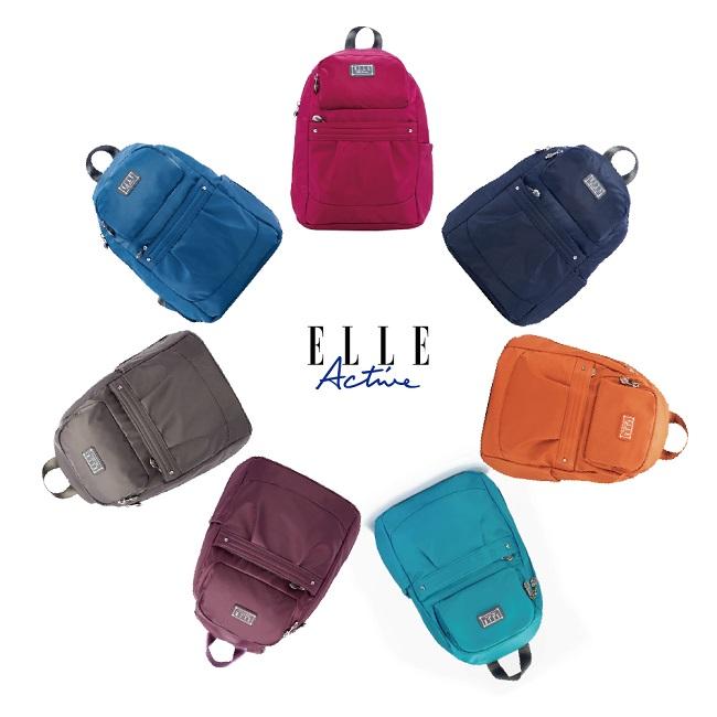 ELLE Active 優雅隨行系列-防盜 後背包-小-桃紅色