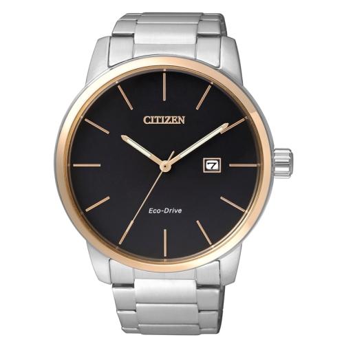 CITIZEN 紳士極簡光動能時尚腕錶/黑面x玫瑰金/BM6964-55E