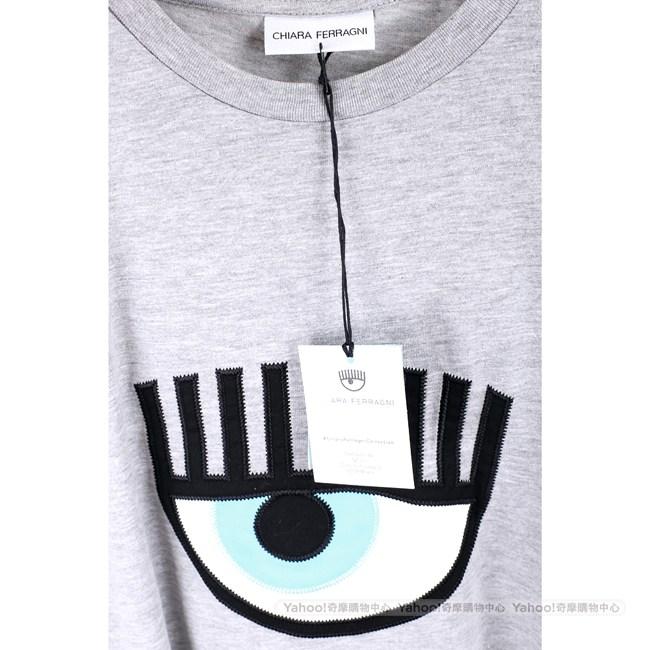 Chiara Ferragni 經典大眼刺繡灰色棉質長版T恤