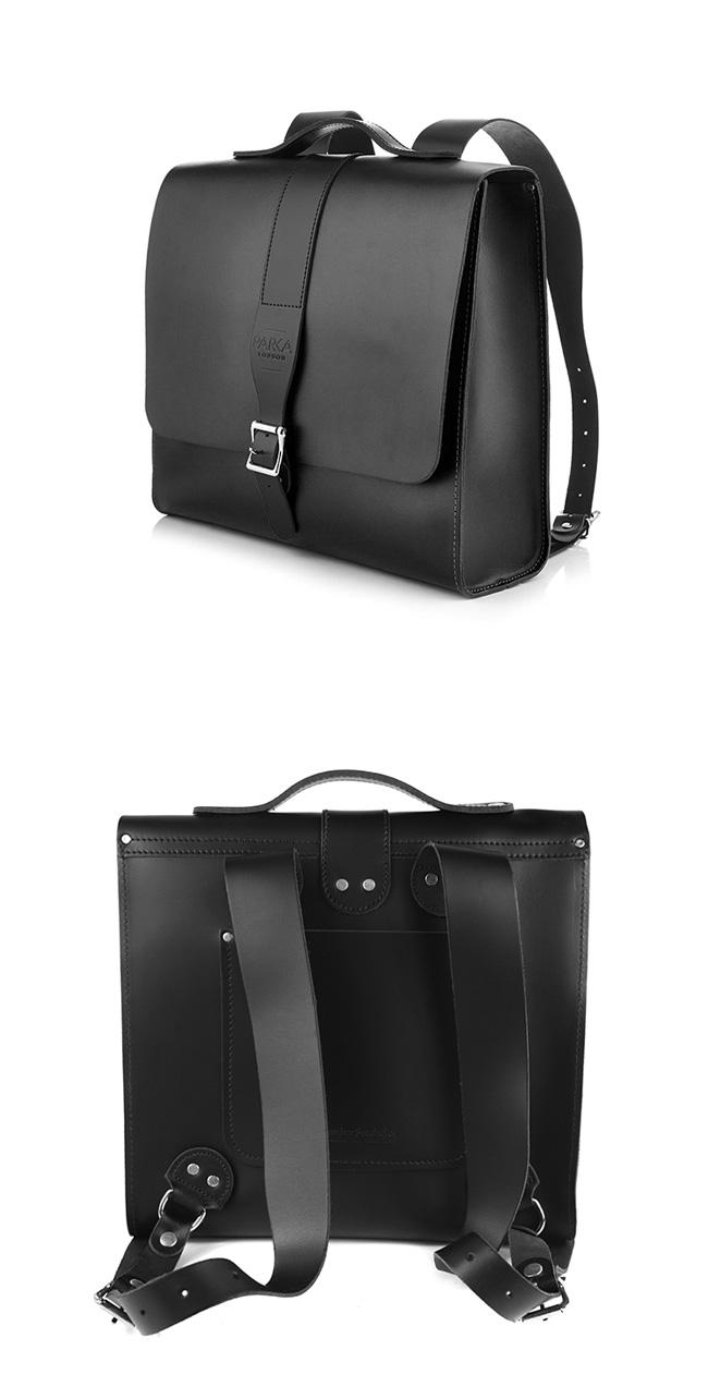 The Leather Satchel 英國手工牛皮限量聯名款後揹包 手提包 火炭黑