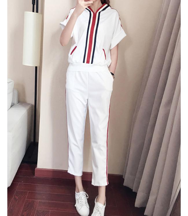 中大尺碼紅條紋拼色連帽上衣加條紋滾邊運動褲XL~4L-Ballet Dolly