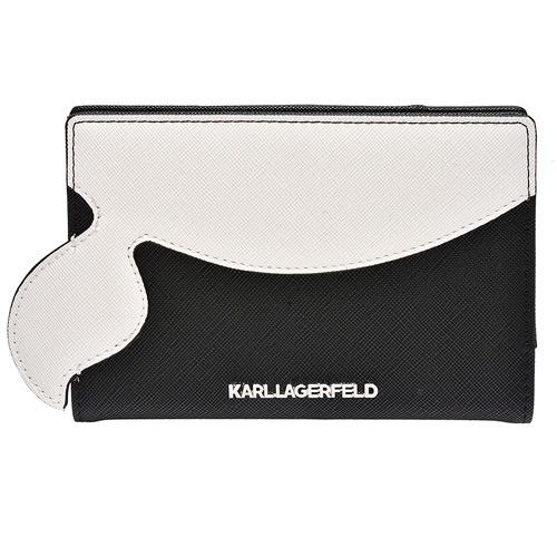 KARL LAGERFELD 經典K/KOCKTAIL系列老佛爺圖案皮革鑲嵌護照夾(黑)