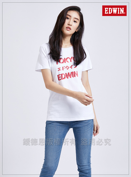 EDWIN 東京系列3M燈管TOKYO短袖T恤-女-白色