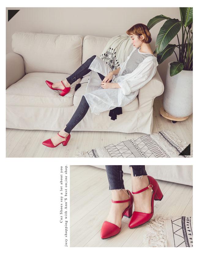 Ann'S Lovely-搖曳水鑽顯瘦側V繫踝尖頭粗跟鞋-紅(版型偏大)