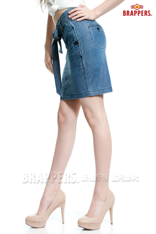 BRAPPERS 女款 Boy Friend Jeans系列-天絲棉打摺五分裙-藍