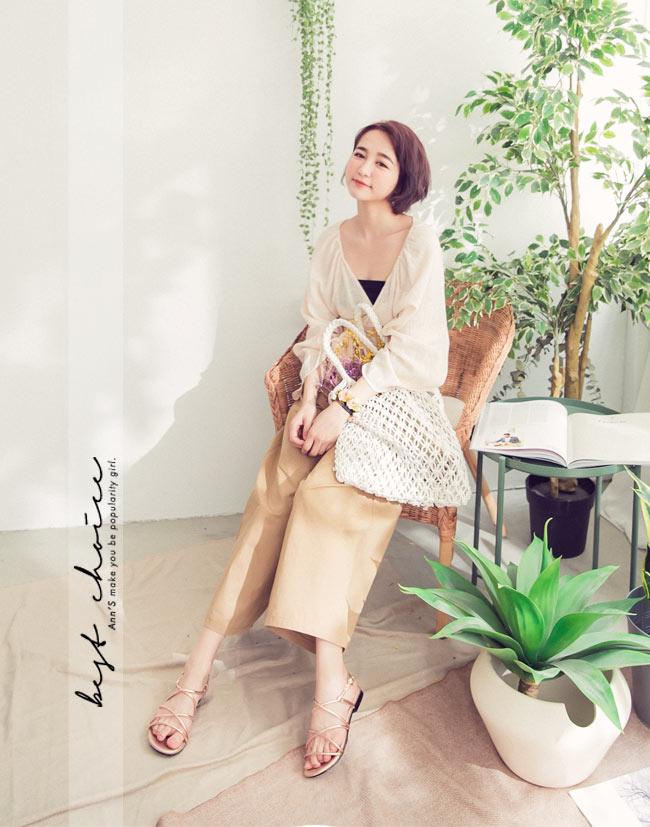 Ann'S現代羅馬-金屬色調多層帶寬版平底涼鞋-玫瑰金