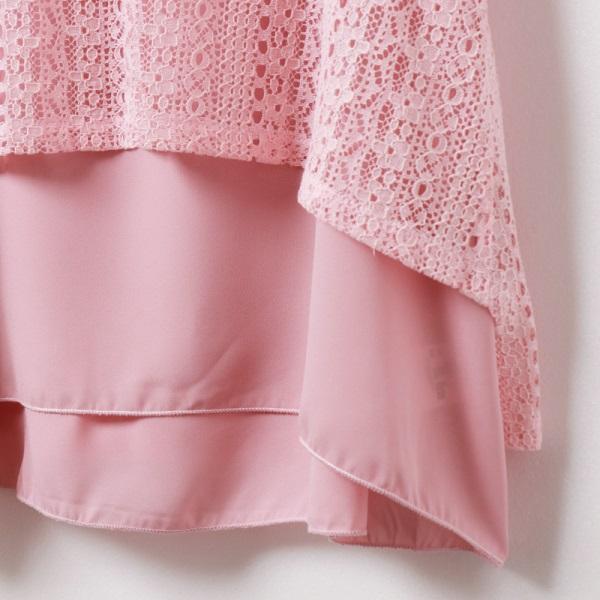 假兩件純色優雅布蕾絲拼接雪紡短袖上衣-OB大尺碼