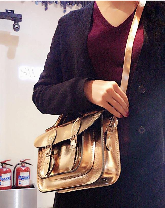 The Leather Satchel 英國手工牛皮劍橋包 肩背手提包 玫瑰金 11吋