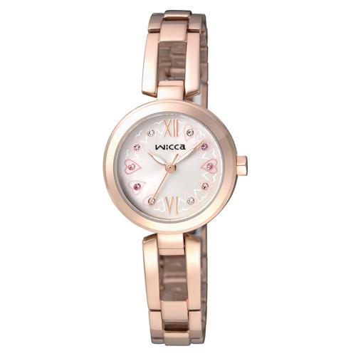 全台限量500只 CITIZEN wicca甜美風格手鐲腕錶/玫瑰金x愛心/BG3-929