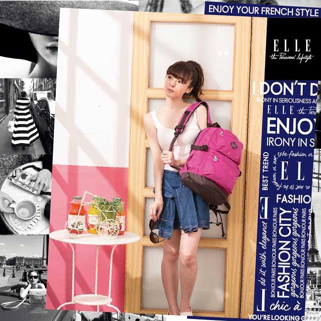 ELLE Active 蜜糖甜心系列-後背包-大-桃紅色