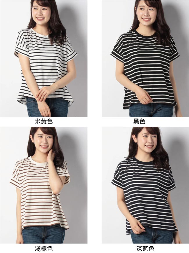 earth music 圓領橫條紋短袖T恤/上衣