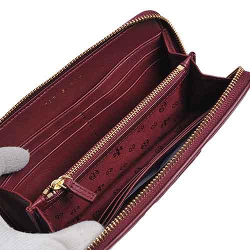 TORY BURCH FLEMING 菱格紋車縫拉鍊長夾(酒紅色)