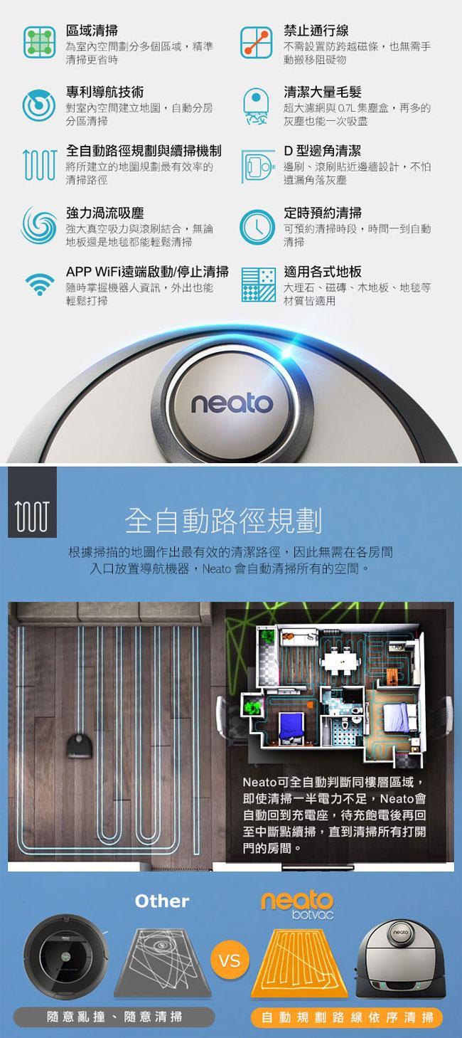 美國 Neato Botvac D7 Wifi 支援 雷射掃描掃地機器人吸塵器