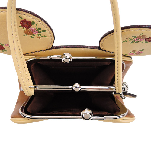 COACHxMINNIE米妮聯名款復古花印耳朵造型珠扣兩用包(淺黃)