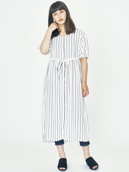 E hyphen V領直條紋腰綁帶連身洋裝