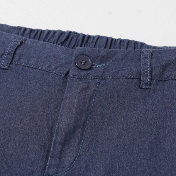 純色後鬆緊褲腳排釦彈力七分小喇叭褲-OB嚴選