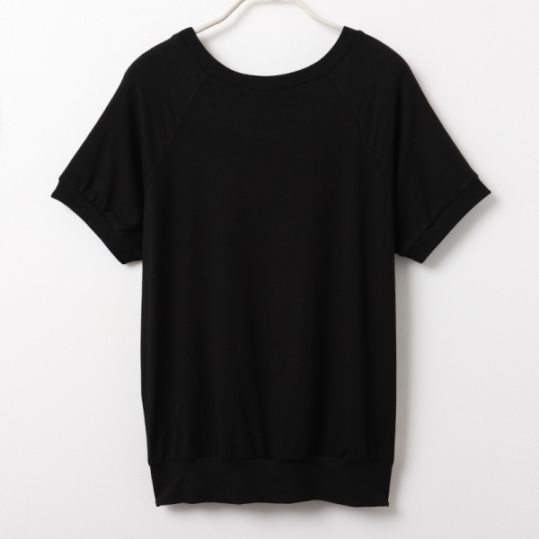 親膚涼爽奢華印花層次拼接短袖上衣-OB大尺碼