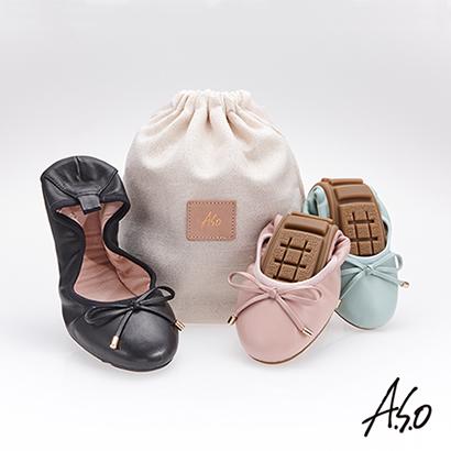 A.S.O輕履鞋 綁帶軟羊皮可折疊娃娃鞋 黑色