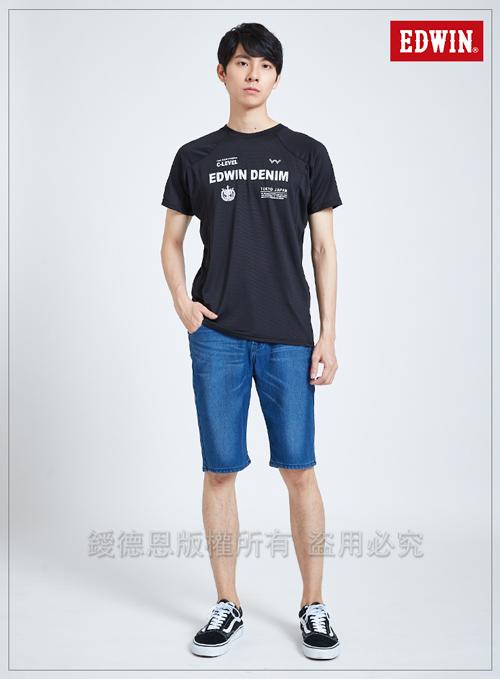 EDWIN 東京系列世足運動風涼感T恤-男-黑色