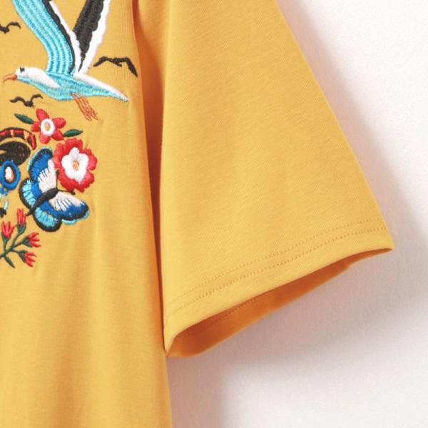 純色親膚鳥語花香刺繡涼爽短袖上衣-OB大尺碼