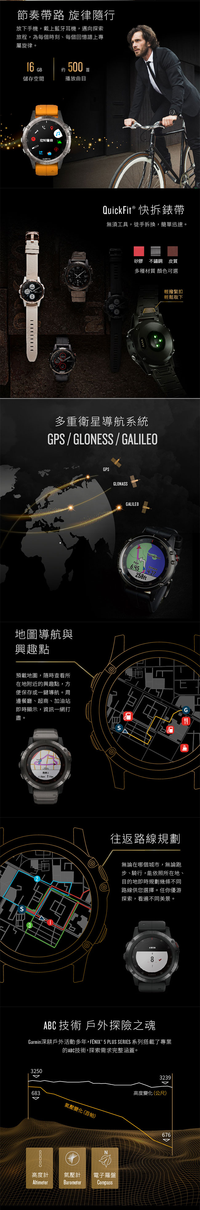 GARMIN fenix 5X Plus 行動支付音樂GPS複合式心率腕錶