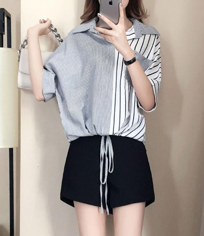 中大尺碼粗細條紋拼色口袋下擺抽繩內縮襯衫XL~4L-Ballet Dolly