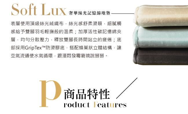 Microdry Soft Lux Bath Mat 奢華絲光記憶綿地墊-璃霧藍